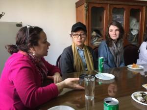 Co-author Sherine Hamdy with artists Sarula Bao and Caroline Brewer.