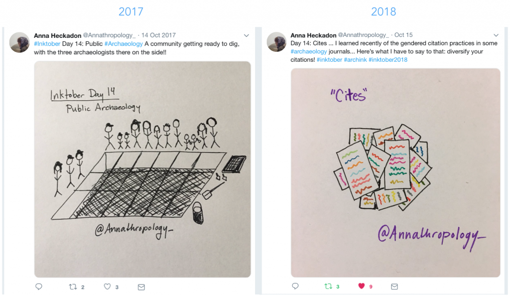 An example of undergraduate student inktobering, from 2017 and 2018 (with permission of Anna Heckadon)